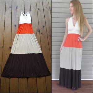 Small XS Open Cross Back Colorblock Maxi Dress